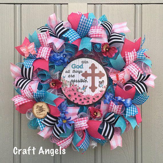 Summer Wreath, Cross Wreath, Year Round Wreath, Deco Mesh Wreath, Spring  Wreath