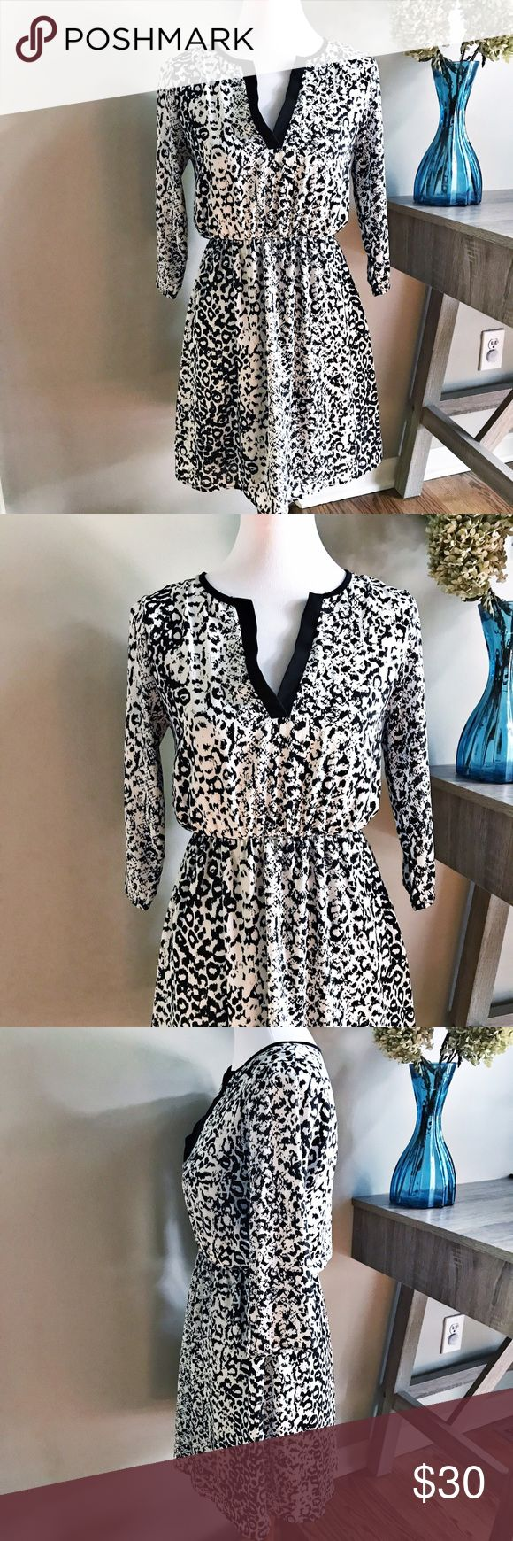 """Everly Animal Print 3/4 Sleeve V-Neck Dress Excellent Condition! Everly animal print 3/4 sleeve v-neck dress. Elastic gathered waistband. Super cute and comfortable. Tag size S. Approximate measurements laying flat: armpit to armpit 15"""", waist (stretchy) 11"""", length shoulder to hem 33.5"""". 👗👛👠👙👕Bundle & Save! Dresses"""