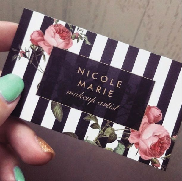 Vintage Floral Striped Business Cards for Makeup Artists, Beauty Salons - Personalize for yourself today