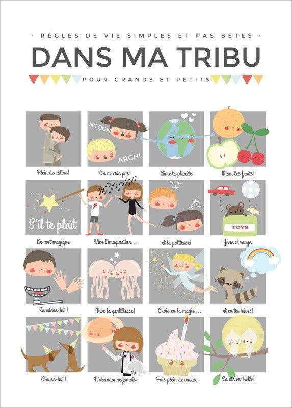 Affiche Règles de Famille pour enfants - Apanona
