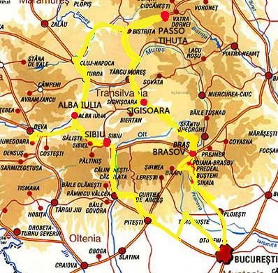 mappa tour Dracula incontra Vlad l' impalatore