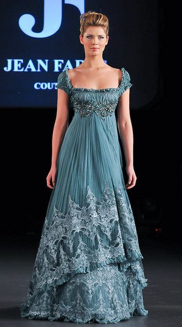 Jean Fares Couture  It looks like a mix of #Regency Era fashion with the empire waist and a sari with that beautiful embroidery
