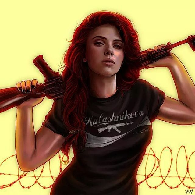 """""""Natasha Romanoff - Color study."""" Posted on instagram.com by petite-madame. >>> I dunno about you guys, but to me this is Natasha if she joined the Winchesters."""