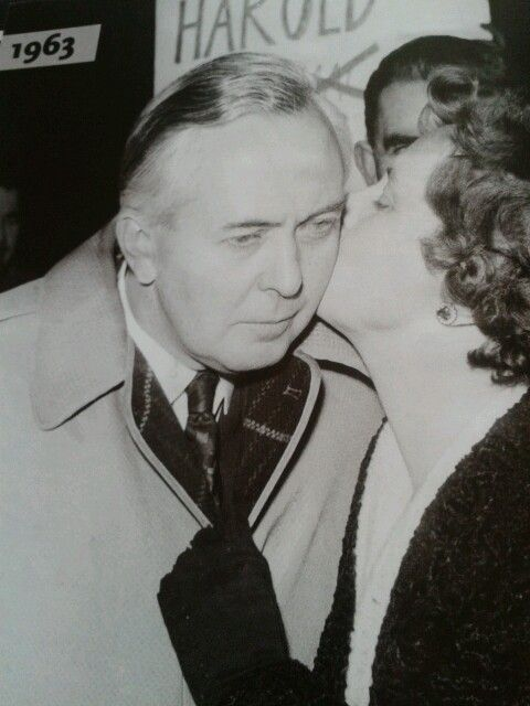 Harold Wilson gets a kiss from his wife Mary after he is elected leader of the Labour Party // oh dear, at first glance I thought that lady was Thatcher! *slaps self*