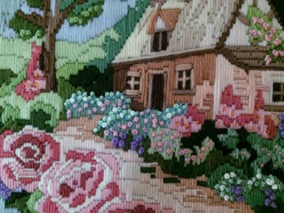 Framed Vintage Long Stitch Picture. Framed Tapestry Picture. Long Stitch Embroidered Picture of Cottage and Cottage Garden. ROP0220