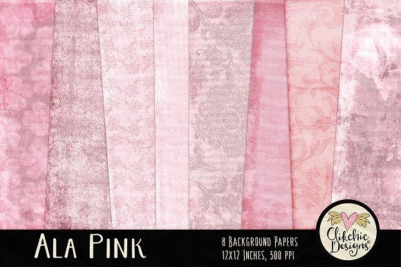 Ala Pink Digital Paper Pack by Clikchic Designs on @creativemarket