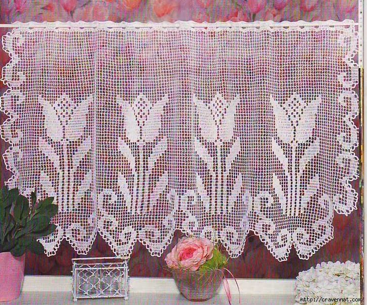 Crochet tulip curtain, filet work ♥LCC-MRS♥ with diagram