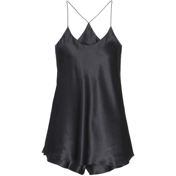 Olivia von Halle Bella Silk-Satin Pyjama Set ($345) ❤ liked on Polyvore featuring intimates, sleepwear, pajamas, black and silk satin pajamas
