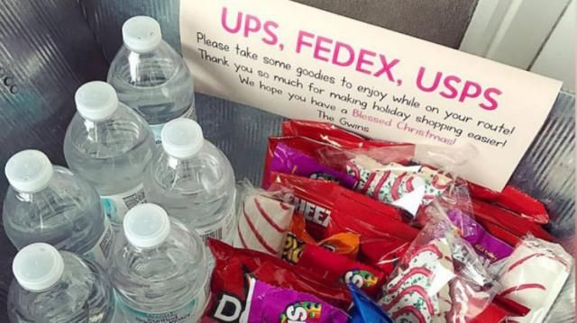 Cute idea! Basket on patio for UPS, FEDEX, USPS guy--with water/pops, chips/candy, snack bars!