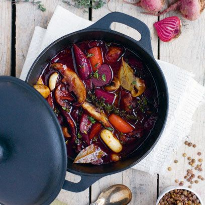 Beetroot bourguignon – a wine-oozing hot pot. For the full recipe click the picture or visit redonline.co.uk
