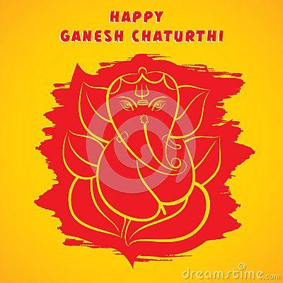 Happy ganesh chaturthi sketch greeting card design Royalty Free Stock Image