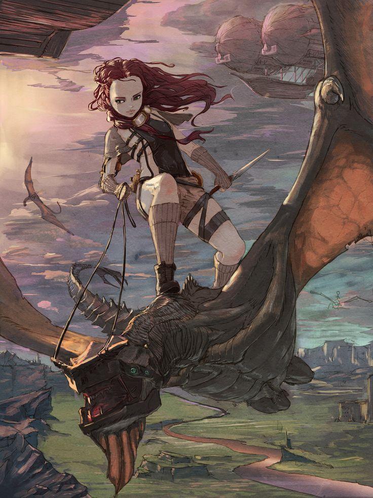 """dragon rider"" by sang bae kim [=> http://www.artstation.com/artwork/dragon-rider-77aef984-cfec-4390-b37b-b29594fd3ae0 ]"