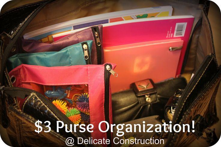 delicateCONSTRUCTION: $3 Purse OrganizationHelpful Ideas, Purses Organic, Organic Life, Organic Ideas, Organic Items, Purses Tutorials, Ocd Organic Stor, Pur Organic, Purse Organization