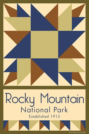 Rocky Mountain National Park Quilt Block designed by Susan Davis. Susan is the owner of Olde America Antiques and American Quilt Blocks She has created unique quilt block designs to celebrate the National Park Service Centennial in 2016. These are the first quilt blocks designed specifically for America's national parks and are new to the quilting hobby.