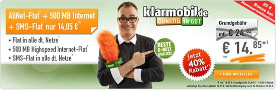 500MB Telekom Allnet Flat für 14,85€ oder 1GB für 19,85€ http://www.simdealz.de/telekom/klarmobil-allnet-spar-flat-handybude-aktion/