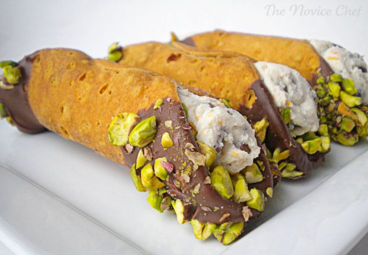 Pistachio Encrusted Cannoli......Ok these look soooooo good & not hard to make. May have to try!