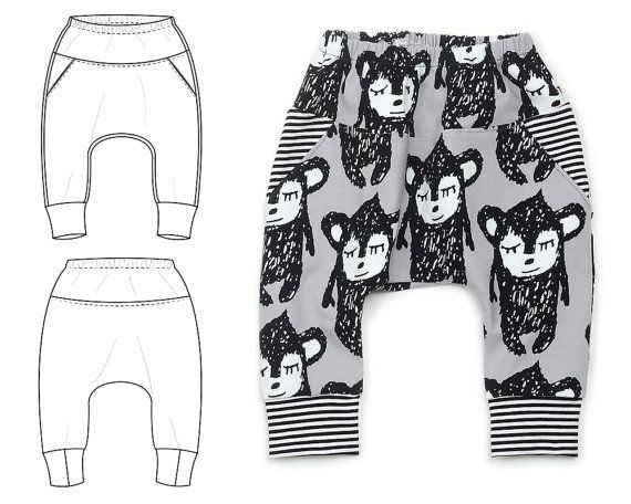 Baggy pocket pants sewing pattern for baby and by brindilleandtwig