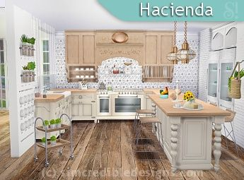 Simcredible designs 4 kitchens 1 sims 4 cc furniture for Sims 3 kitchen designs