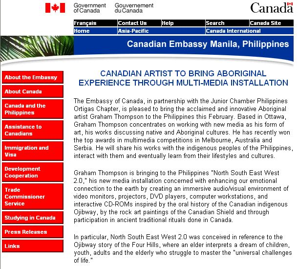 Canadian Embassy Manilla announcement, North-South-East-West installation, February 2005.