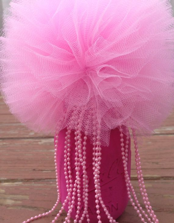 1 Tulle pom poms Bead Mason Jar CenterpieceParty by TullePomPoms
