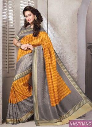 Yellow Art Silk Printed Border Sobar Saree