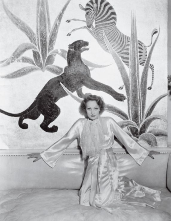 Marlene Dietrich in Elsie de Wolfe's house - painting by Charles Baskerville
