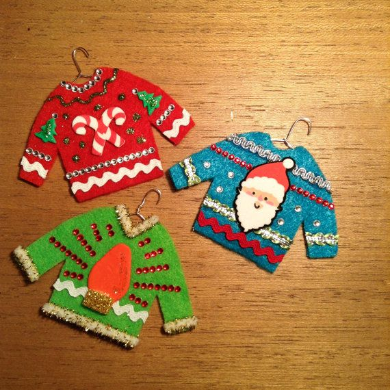SEE MY SHOP for even more (so UGLY theyre CUTE) sweater ornaments!    Perfect gifts for THAT friend, co-worker or family member who loves to sport THOSE
