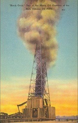 Oil gusher, Odessa, Texas post card