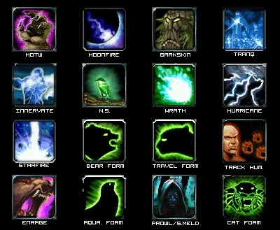 Icons are often used in games to signify specific skills (World of Warcraft)