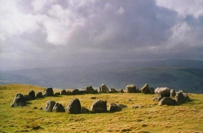 The cairn-circle of Moel Ty Uchaf stands high on a hill near Llandrillo. It consists of 41 stones with a cist in the centre and an outlying stone to the north-north-east. http://www.megalithic.co.uk/modules.php?op=modload
