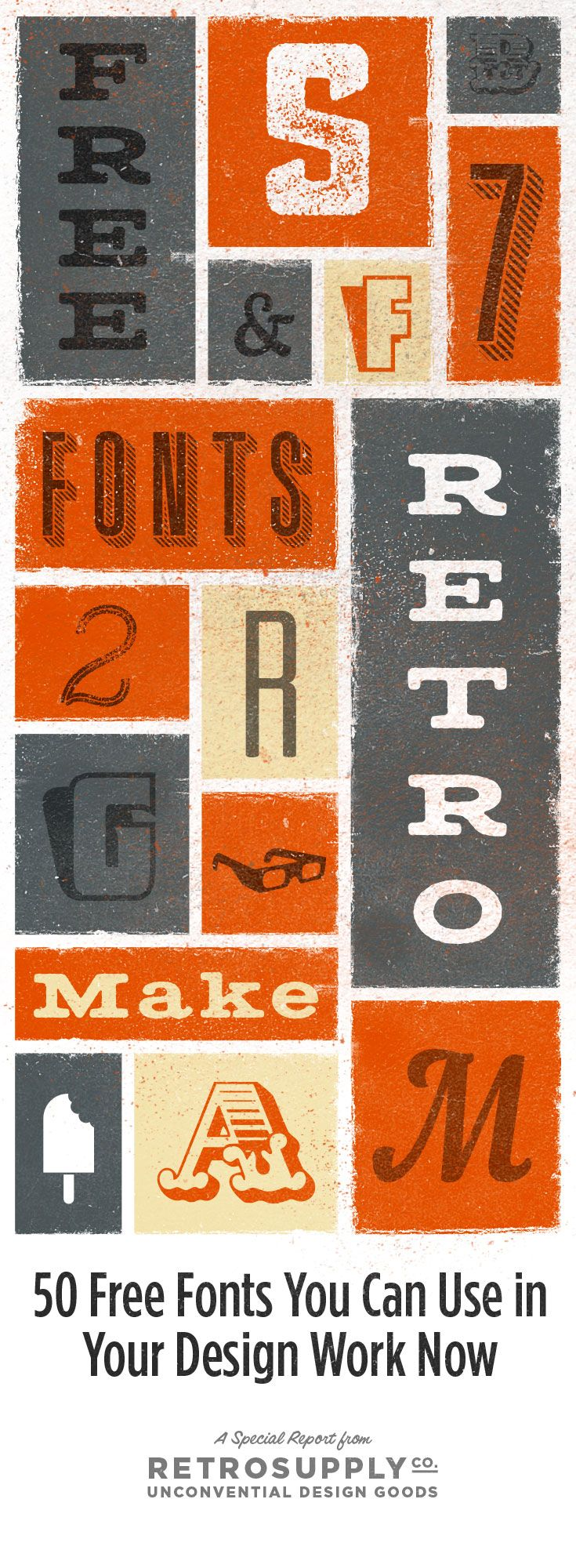 letterpress style, lettering, design, texture, retro, typeface, font, type, colour, grey and orange, male