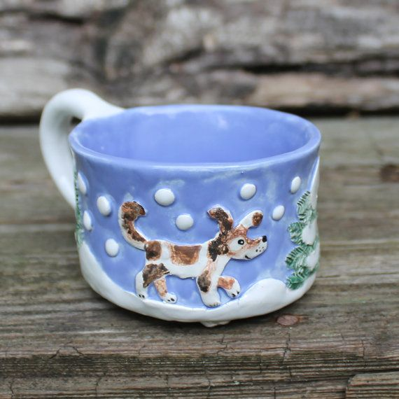 Dog and fox sculptured mug lavender blue and by Natvasclayandpaper