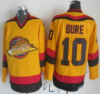 Vancouver Canucks Jersey 10 Pavel Bure 1985-86 Yellow CCM Vintage Throwback Jerseys