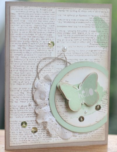 Stampin' Up: Dictionary background stamp, doily, sequins, Circle Framelits, Nature's Hello hostess set