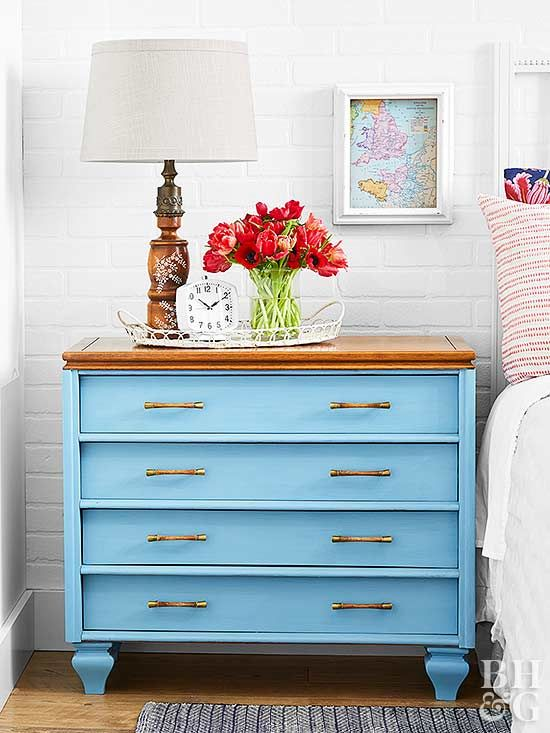 First, we raised this dresser to the next level by adding feet.