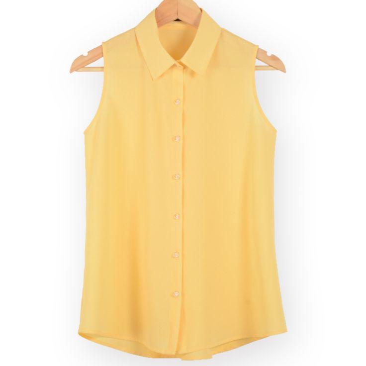 Новая мода рабочая одежда офис топы блузки Лето turn down рукавов женщины шифон рубашки тонкий рубашки цвета женский camisa жилет купить на AliExpress