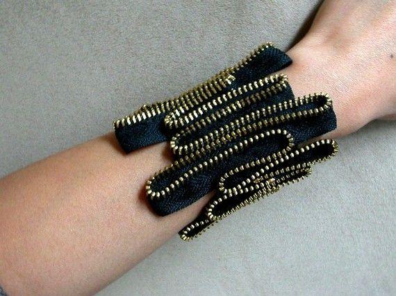 The Heart Beat Zipper Bracelet by ReborneJewelry on Etsy