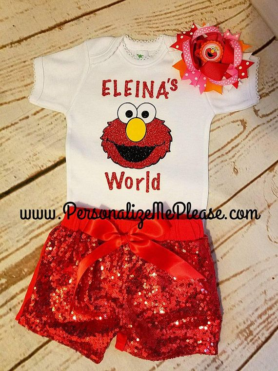 The cutest Elmo Birthday set Ever!!  The shirt or onesie match sparking red sequin shorts. COMPLETE 3 Piece Set (as pictured) Includes: 1 White Top 1 Red Sequin Shorts 1 Elmo hair bow on a clip