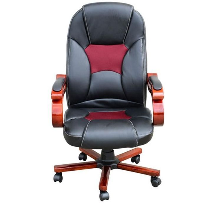 Faux Leather Computer Chair Adjustable Height Swivel Black Red Office Furniture