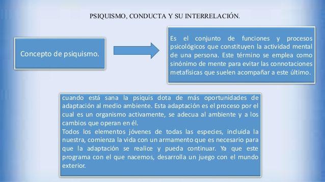 PSIQUISMO, CONDUCTA Y SU INTERRELACIÓN. Concepto de psiquismo. Es el conjunto de funciones y procesos psicológicos que con...