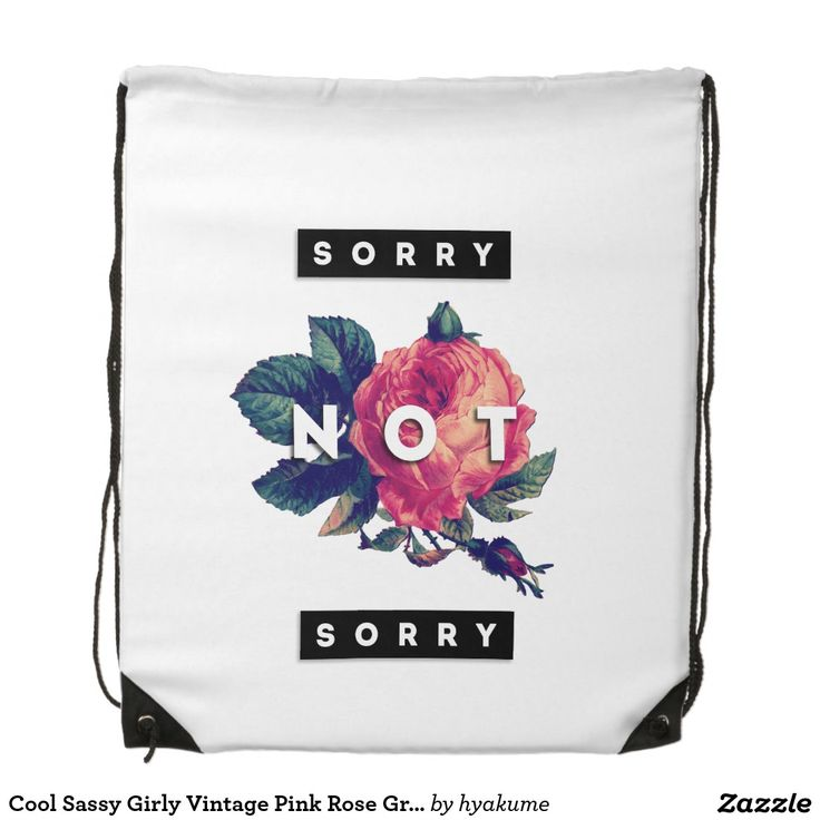 Cool Sassy Girly Vintage Pink Rose Grunge Floral Drawstring Bag
