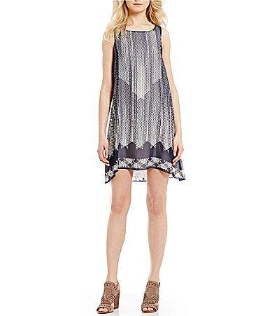 MSSP Trapeze Digital Print Shift Dress #Dillards