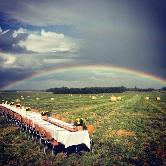 Farm dinners under a rainbow at Prairie Gardens. www.PrairieGardens.org