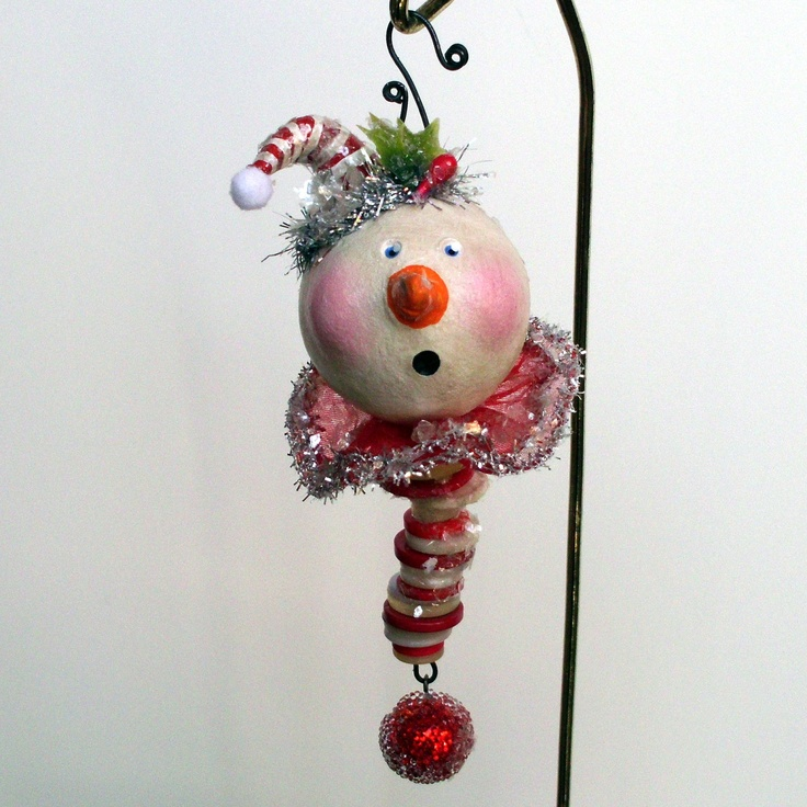 Whimsical Vintage Look Snowman Christmas Ornament by JuneBugsbyLinda on Etsy
