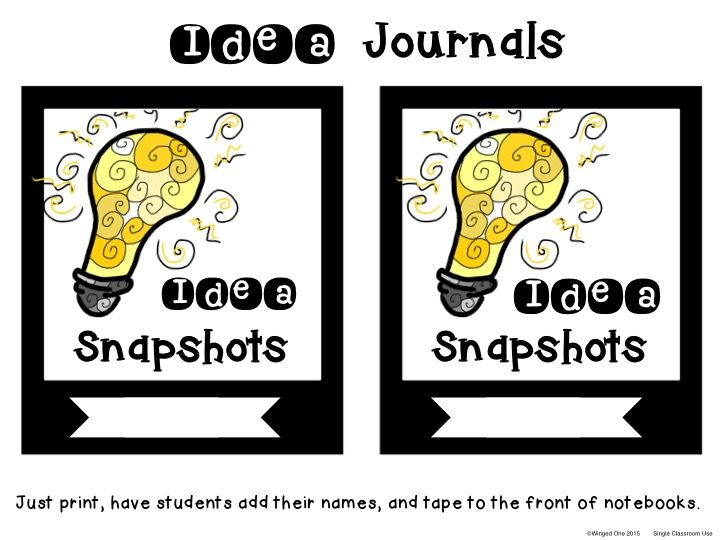 Idea Snapshops ~ Idea Journal Labels: Good for everyday ideas, Makerspaces, Genius Hour, Writing Ideas, or Independent Study $