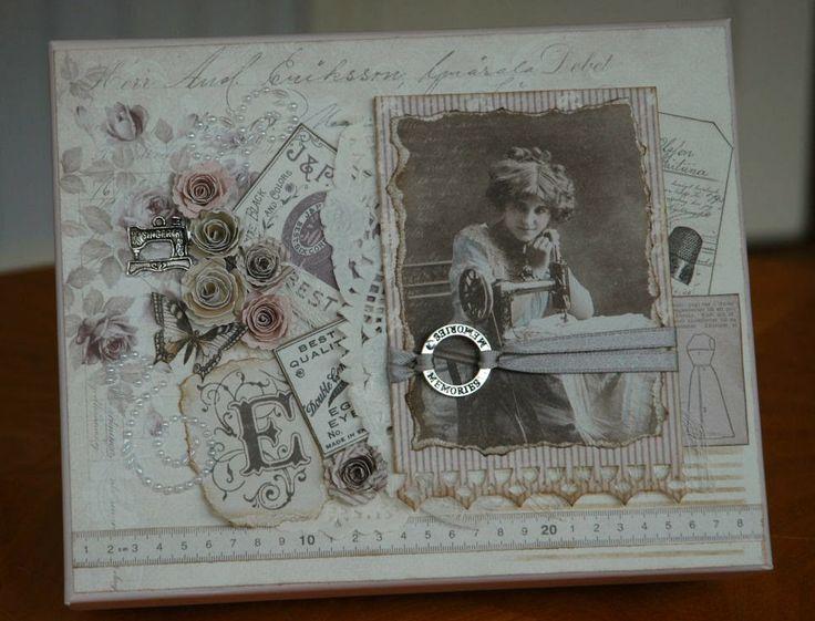 Födelsedagsask med papper från Pion design 'Alma's Sewing Room'