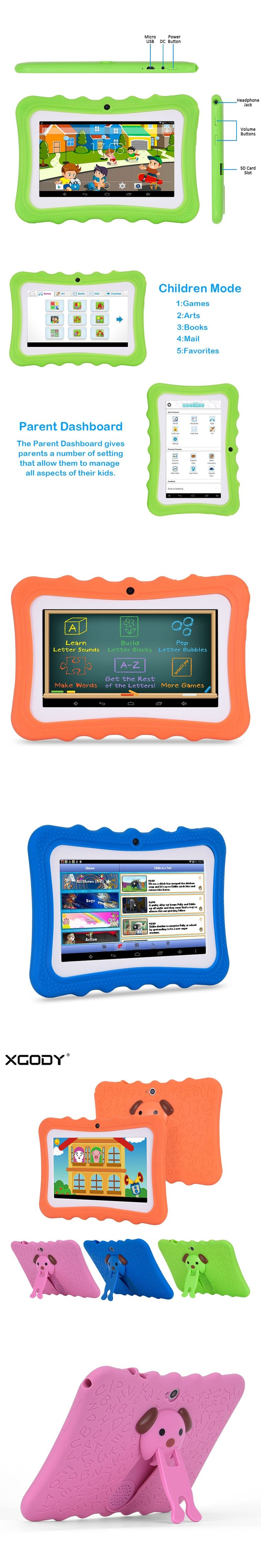 XGODY I711 7 Inch Children Tablet PC Android 4.4 Quad Core 8GB ROM Silicone Case Tablets for Kid Play Store Education Game WiFi