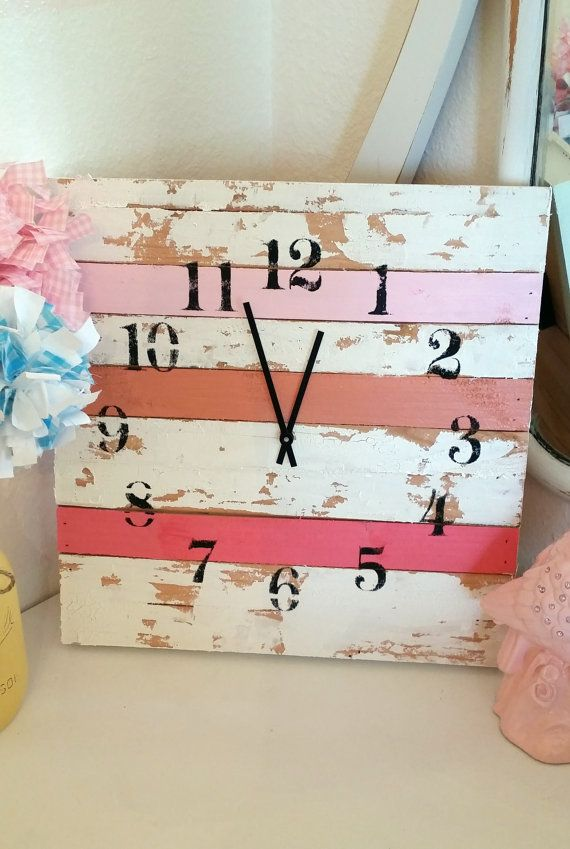 Shabby chic pink clock 16x16 girls room cottage by ThePinkToolBox