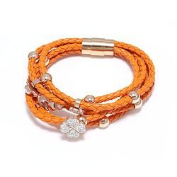 Leather Braided Bracelets with Flower