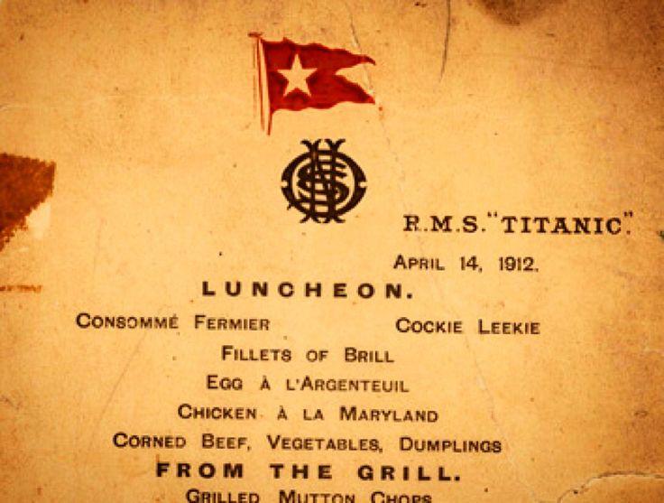 Меню «Титаника» продаётся с аукциона 30 сентября американская компания «Lion Heart Autographs» проведёт аукцион, на котором будут выставлены вещи с «Титаника». Среди сохранившихся предметов есть меню последнего дня лайнера, которое компания планирует продать за 50 000 – 70 000 долларов. Это небольшой листок, перечисляющий блюда, которые подавались пассажирам первого класса 14 апреля 1912 года. Меню содержит 4 раздела: обед, гриль, буфет и сыр. Самая богатая категория – буфет.